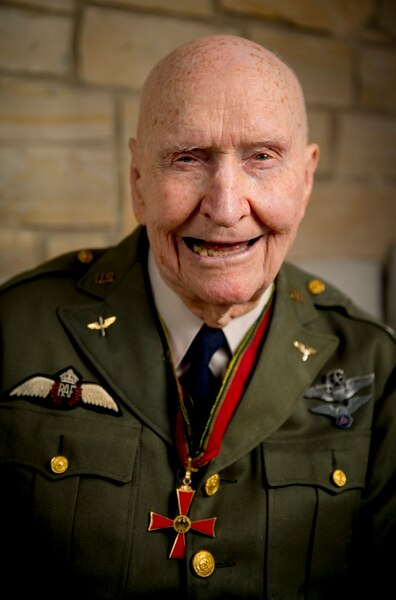 (Isaac Hale | The Daily Herald | AP) Gail Halvorsen, also know as the Candy Bomber, poses for a portrait at his son's home in Midway, Utah, on Wednesday, Oct. 7, 2020. Air Force Colonel (retired) Gail S. Halvorsen changed the course of history with just two pieces of gum. Now has made a bit of his own history. Halvorsen turned 100 years old this month.