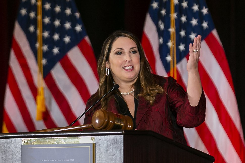 (Matias J. Ocner | Miami Herald via AP file photo) Ronna Romney McDaniel, the chairwoman of the Republican National Committee, speaks during the RNC winter meeting at the Trump National Doral Resort on Jan. 24, 2020.