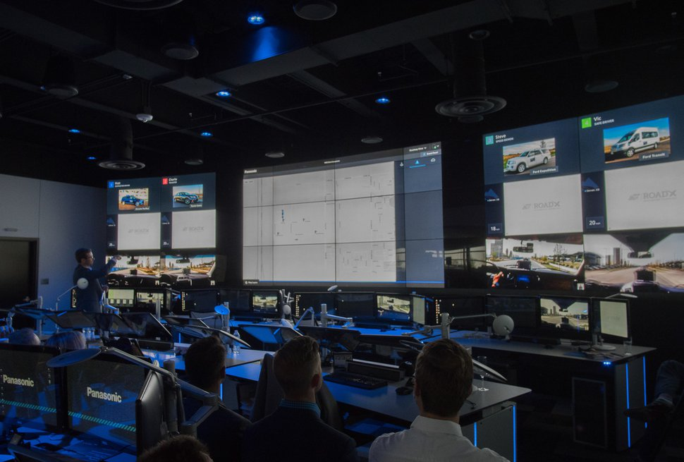 (Photo courtesy of Panasonic North America) A control center working with a Panasonic system that allows cars, road facilities and control centers to communicate with each other to avoid collisions.