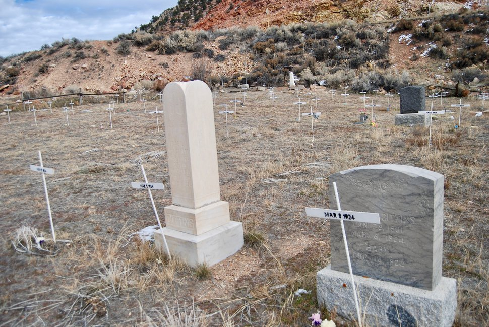 Tribune photo by Brian Maffly, Nov. 27, 2018. On March 8, 1924, explosions tore apart the Castle Gate coal mine, killing all 171 miners inside. Many of them are buried in the Castle Gate Cemetery near Helper. Methane concentrations are a serious mining hazard for the coal mines in Utah's Book Cliffs.