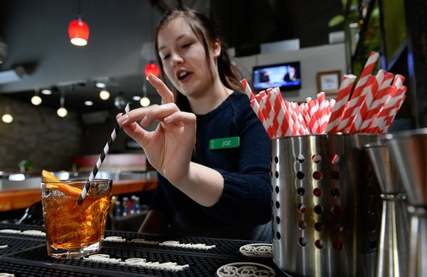 "(Francisco Kjolseth | The Salt Lake Tribune) Zest bar manager Joz Pust puts a paper straw in a High West Sour. Zest stopped using plastic straws about two years ago. Now, the staff only gives out biodegradable straws upon customer request. Salt Lake City restaurants, bars and other businesses are being asked to stop handing out plastic straws as part of a new ""Strawless in SLC"" campaign. The group is hoping to get 50 restaurants to get on board before Earth Day in April."