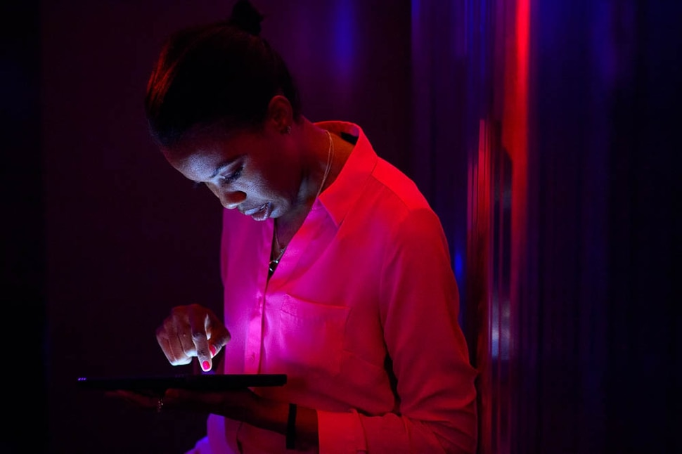(Trent Nelson | The Salt Lake Tribune) Liz Adeola selects a song at Heart & Seoul Karaoke, a new business in Salt Lake City that has private karaoke rooms that people can rent for singing fun. Tuesday March 26, 2019.