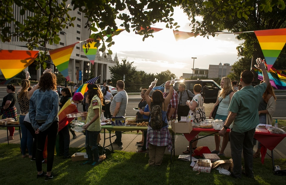 (Leah Hogsten | The Salt Lake Tribune) Supporters and members of the LGBTQIA+ community held the