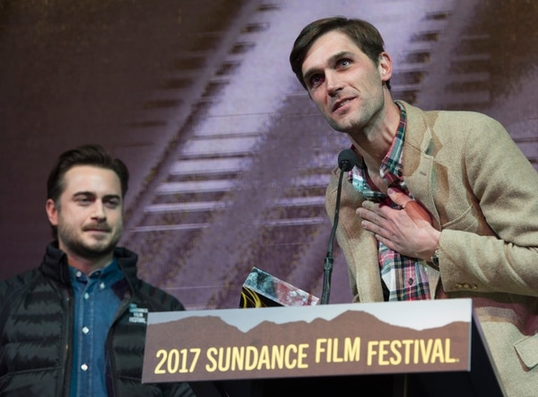 Rick Egan | The Salt Lake Tribune Writers, Matt Spicer and David Branson Smith received the Waldo Salt Screenwriting Award: U.S. Dramatic ÒIngrid Goes West,Ó at the 2017 Sundance Film FestivalÕs Awards Ceremony, Saturday, January 28, 2017.