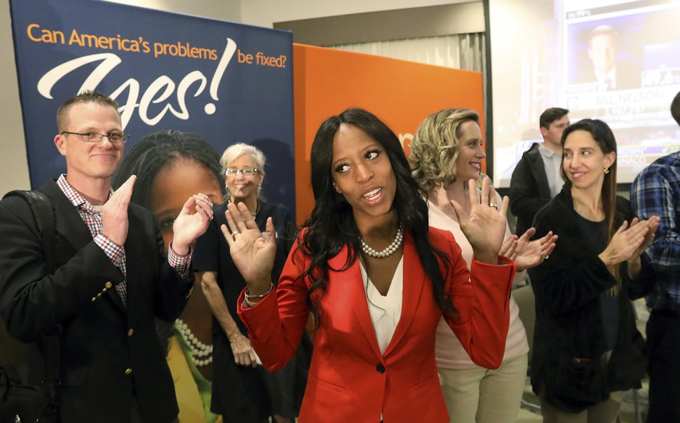 Republican U.S. Rep. Mia Love greets supporters during an election night party Tuesday Nov. 6, 2018, in Lehi. (AP Photo/Rick Bowmer)