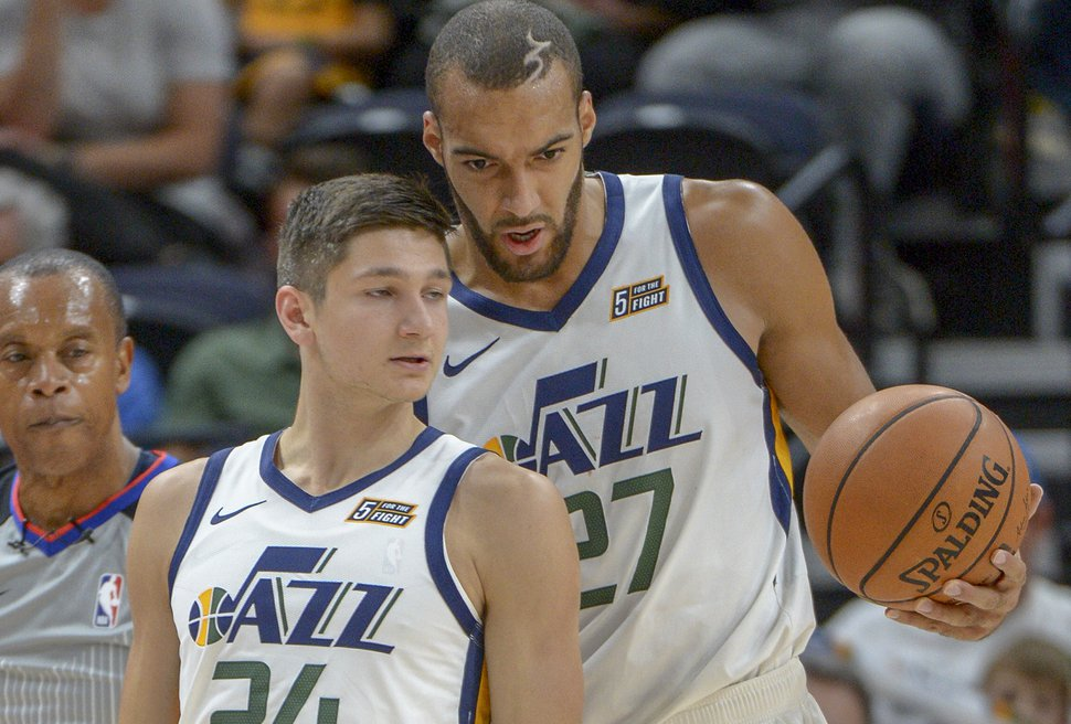 Leah Hogsten | The Salt Lake Tribune Utah Jazz center Rudy Gobert (27) confers with Utah Jazz guard Grayson Allen (24) in the first half as the Utah Jazz host the Perth Wildcats during their preseason game, Sept. 29, 2018 at Vivint Smart Home Arena.