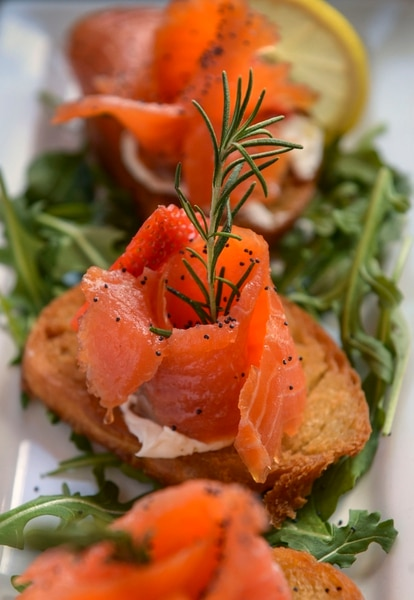 (Leah Hogsten | The Salt Lake Tribune) Roselline di Salmone with smoked salmon, cream cheese, bread rucola and strawberries, $15 at Osteria Amore, serving traditional flavors of Italy with a modern spin, Jan. 10, 2020.