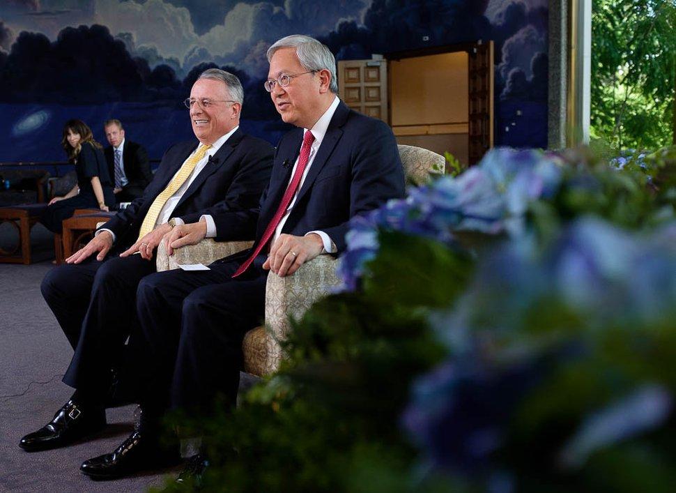 (Trent Nelson | The Salt Lake Tribune) New Mormon apostles Ulisses Soares and Gerrit W. Gong speak to members of the media in Salt Lake City, Thursday, June 28, 2018.