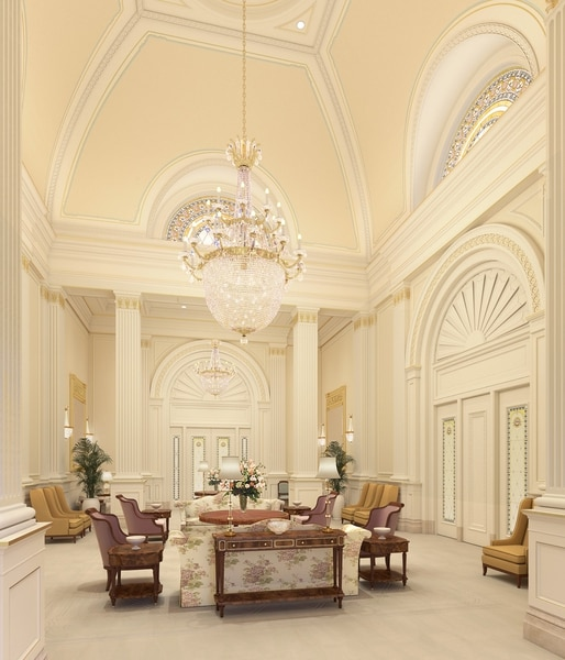 (Image courtesy of The Church of Jesus Christ of Latter-day Saints) An artist's rendering of the celestial room in The Church of Jesus Christ of Latter-day Saints' to-be-constructed Tooele Valley Utah Temple.