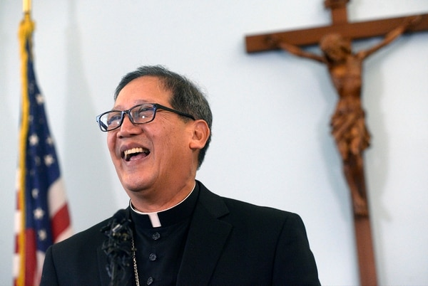 (Al Hartmann | The Salt Lake Tribune) Bishop-elect Oscar Azarcon Solis speaks after being introduced as the 10th bishop of the Catholic Diocese of Salt Lake City, Tuesday, Jan. 10, 2017.