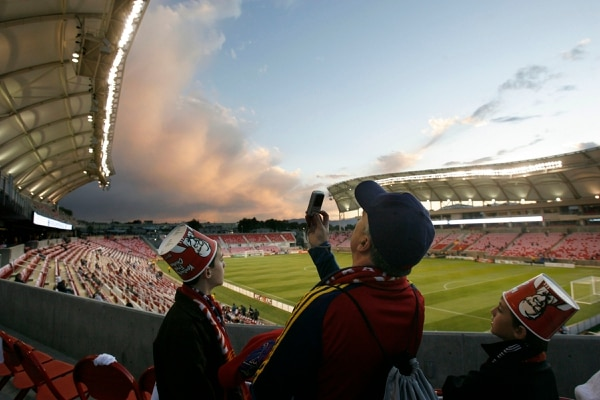 (Salt Lake Tribune, Rick Egan) Fans check out Rio Tinto Stadium during its first game.