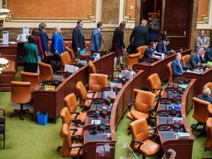 (Trent Nelson     The Salt Lake Tribune) House Democrats walking off the floor as Republicans move to debate resolution on teaching critical race theory during a special session at the State Capitol in Salt Lake City on Wednesday, May 19, 2021.
