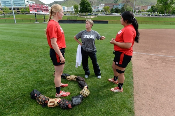 Francisco Kjolseth | The Salt Lake Tribune Utah softball coach Amy Hogue, center, speaks with pitchers, Katie Donovan, left, and Miranda Viramontes during practice before heading out of town to battle Florida State this weekend in the final 16. The team had a season-long goal to make it to Super Regionals. Now they're here for the first time since 1994.