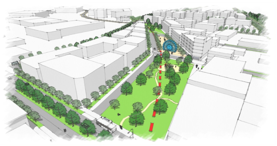 (Photo courtesy of the city of Millcreek) A rendering of a proposed park and city center envisioned as part of efforts to redevelop the commercial center of Millcreek, Utah's newest city.
