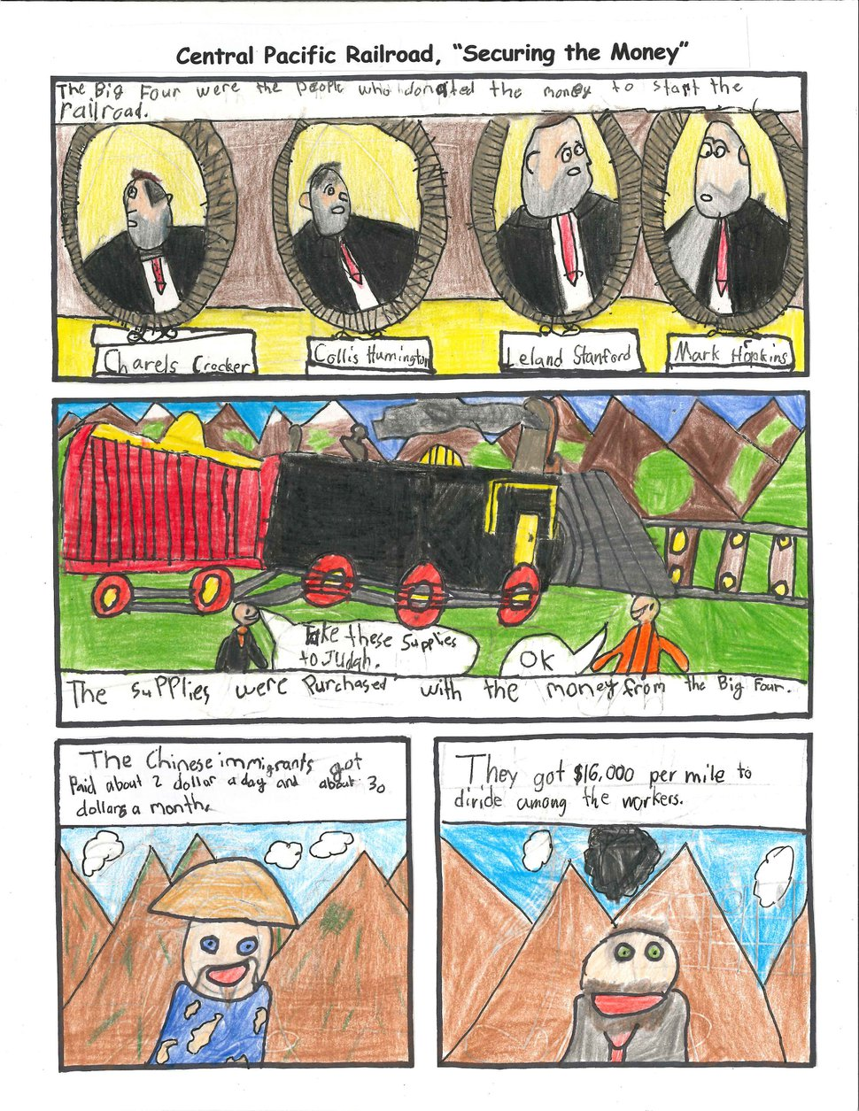 (Photo courtesy of Horace Mann Elementary School) Fourth-graders at Horace Mann Elementary in Ogden, Utah, created a graphic novel about the building of the railroad.