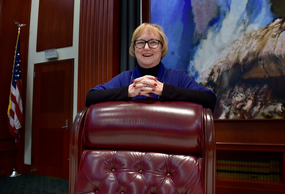 (Scott Sommerdorf | The Salt Lake Tribune) Justice Justice Christine Durham is retiring after 35 years on the Utah Supreme Court. She poses for a photo leaning on the chair she most recently used during her time on Utah's highest court, Thursday, November 16, 2017.