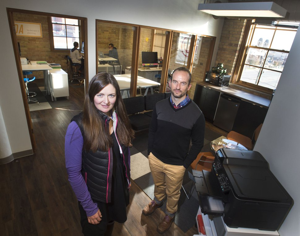 (Steve Griffin | Tribune file photo) Shalae Larsen and Mark Morris, pictured in Nov 2014 in one of the work spaces at Work Hive, a coworking studio located in downtown Salt Lake City's converted Crane Building.