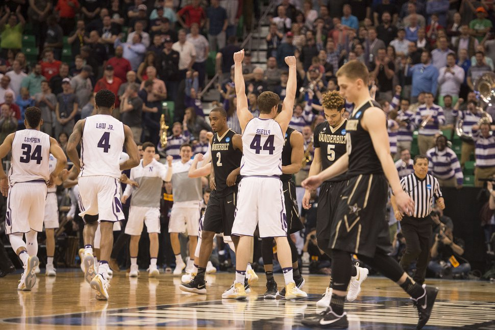 Trent Nelson | The Salt Lake Tribune Northwestern Wildcats forward Gavin Skelly (44) celebrates after his team beat Vanderbilt during the first round of the NCAA Tournament in Salt Lake City on Thursday, March 16, 2017.
