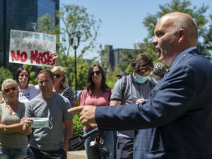 (Rick Egan  |  Tribune file photo)  Utah County Commissioner Bill Lee speaks during a rally protesting against masks being required in schools in this July 15, 2020, file photo. Lee is leading the charge for the commission to repeal a property tax hike enacted in 2019 when the county governing body had a majority of moderate Republicans.
