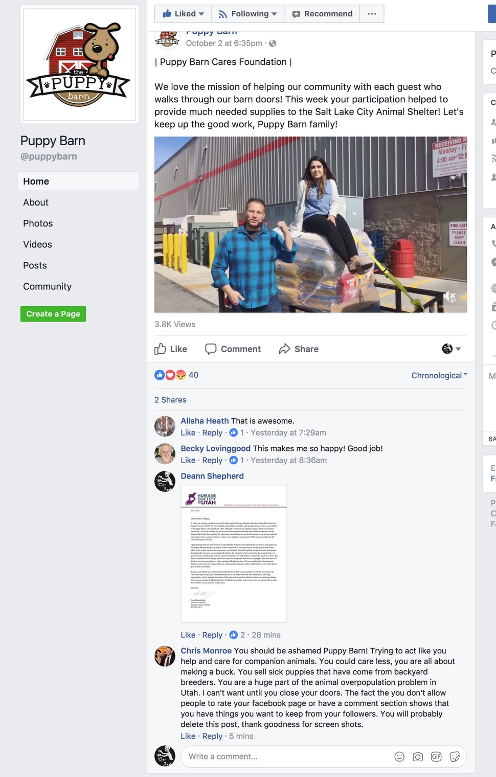 (Photo courtesy The Humane Society of Utah) A video showing the owner of Puppy Barn donating dog food to the Humane Society of Utah has been removed after the nonprofit didn't accept the donation.