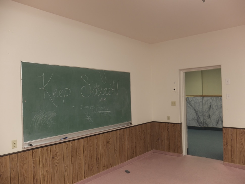 (Nate Carlisle | The Salt Lake Tribune) Someone wrote Keep Sweet on a chalkboard in what was the meetinghouse used by members of the Fundamentalist Church of Jesus Christ of Latter-Day Saints. The saying was how women were supposed to behavior toward men in the sect. The land trust that owns the meetinghouse opened it to the public on March 16, 2019.