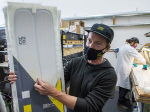 (Rick Egan  |  The Salt Lake Tribune)     Pep Fujas, vice president of marketing and product development at WNDR Alpine, talks about the construction of WNDR Alpine skis, which are made with a microalgae oil instead of petroleum, at the company's production office in Salt Lake City, Friday, Oct. 2, 2020. It is the first company to use algae to make skis.