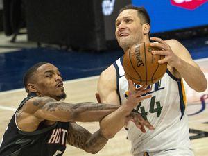 (Rick Egan | The Salt Lake Tribune) Utah Jazz forward Bojan Bogdanovic (44) takes the ball to the hoop, as Houston Rockets forward DaQuan Jeffries (55) defends, in NBA action between the Utah Jazz and the Houston Rockets, at Vivint Arena, on Saturday, May 8, 2021.