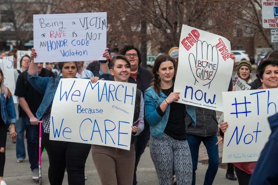 (Rick Egan | The Salt Lake Tribune) BYU Idaho students chant as they march in protest. asking for changes in the honor code at BYU Idaho in Rexburg, ID, Wednesday, April 10, 2019.