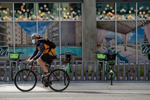 (Francisco Kjolseth  |  The Salt Lake Tribune) People ride bikes on the streets of Salt Lake City on Wednesday, Oct. 14, 2020. COVID-19 has created a cycling boom of global proportions.