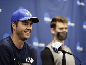 (BYU Photo) BYU men's volleyball coach Shawn Olmstead talks to the media during a NCAA Tournament press conference in Columbus, Ohio on Wednesday.