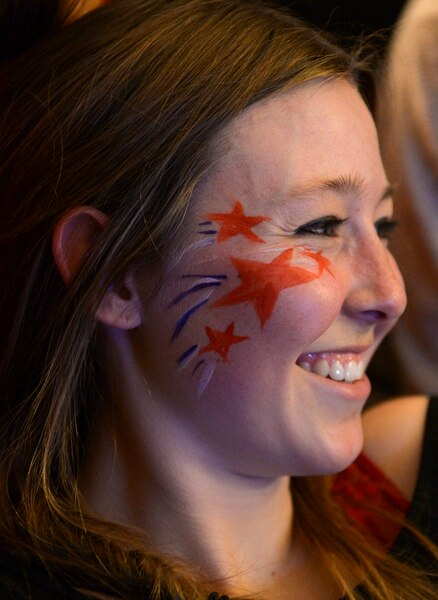 (Leah Hogsten | The Salt Lake Tribune) Scout Invie painted her face in support of her friend first-time Olympian Darian Stevens. Westminster students and friends of first-time Olympian Darian Stevens gathered for a watch party in Sugar House to cheer on Stevens as she competes in her first qualifying ski slopestyle competition run Friday, Feb. 16, 2018 during the 2018 Pyeongchang Winter Olympics. Stevens is a graduate of the Park City Winter Sports School and a business major at Westminster.