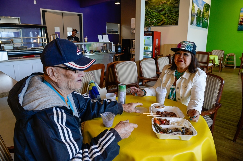(Francisco Kjolseth | The Salt Lake Tribune) Larry and Tess Malabey enjoy desert after a hearty meal at BFF Turon, a new Filipino restaurant in West Jordan that serves up turo-turo or cafeteria style food. The couple say they visit the restaurant almost daily since they only leave a few blocks away.