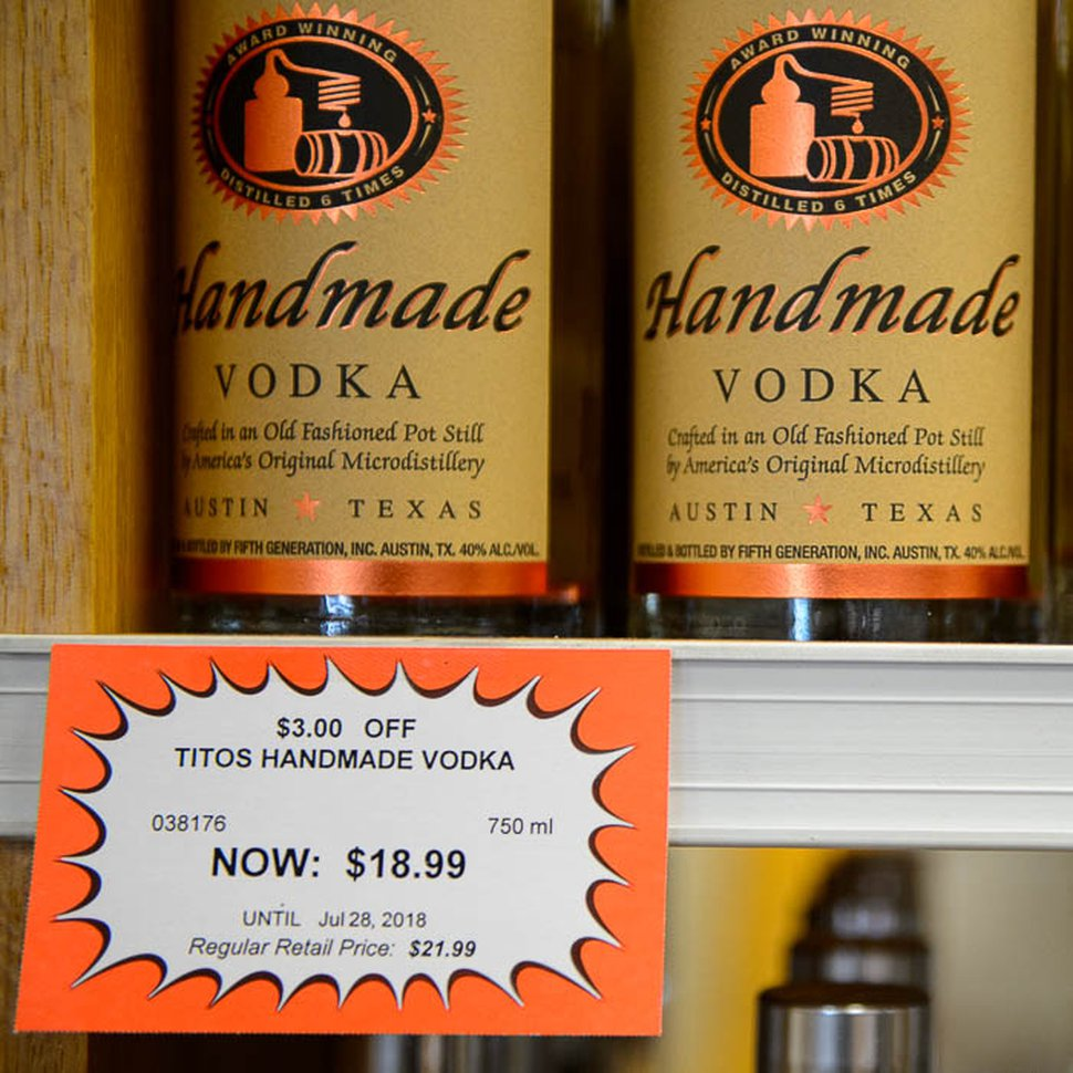 (Trent Nelson | The Salt Lake Tribune) A sale label on product at Utah state liquor store in Murray, Wednesday July 18, 2018.