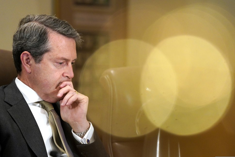 (Jacquelyn Martin | AP file photo) Randal Quarles, Federal Reserve vice chair for supervision, listens during a Federal Reserve Board meeting on Oct. 31, 2018, at the Marriner S. Eccles Federal Reserve Board Building in Washington.