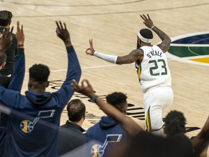 (Rick Egan | The Salt Lake Tribune) Utah Jazz forward Royce O'Neale (23) reacts after hitting a 3-point shot, in NBA action between the Utah Jazz and the Golden State Warriors at Vivint Arena, on  Saturday, Jan. 23, 2021.