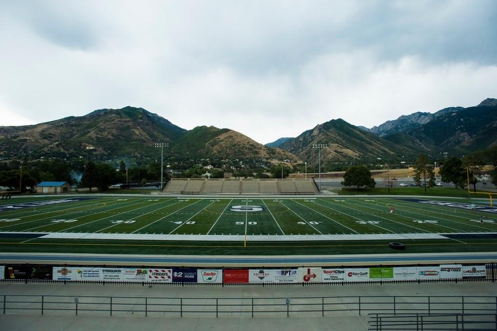(Rick Egan | The Salt Lake Tribune) Skyline Football field Wednesday, August 8, 2017.