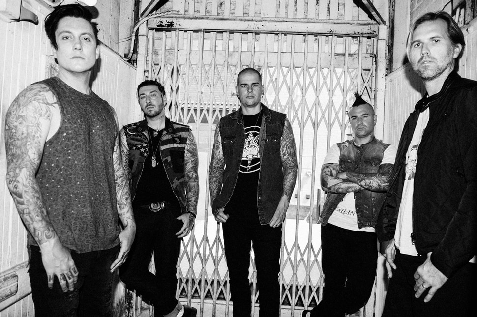 """(Photo courtesy Jeff Forney) Avenged Sevenfold (from left: guitarists Sinister Gates and Zacky Vengeance, vocalist M. Shadows, bassist Johnny Christ, and drummer Brooks Wackerman) will play a headlining concert at USANA Amphitheater in West Valley City on Friday, Aug. 11, 2017. The band is touring in support of its seventh studio album, """"The Stage."""""""