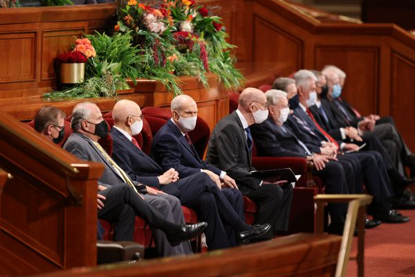 (The Church of Jesus Christ of Latter-day Saints) Church leaders at General Conference on Saturday, Oct. 2, 2021.