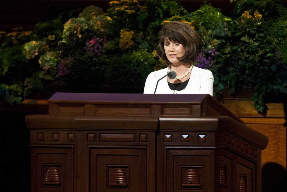Chris Detrick | The Salt Lake Tribune Jean A. Stevens prays during the morning session of the 183rd Annual General Conference of The Church of Jesus Christ of Latter-day Saints Saturday, April 6, 2013.