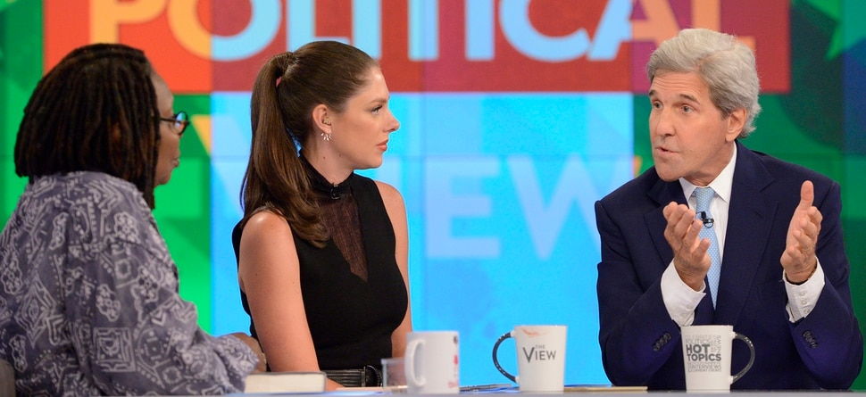 "(Photo courtesy Lorenzo Bevilaqua/ABC) Whoopi Goldberg, Abby Huntsman and former Secretary of State John Kerry on ""The View."