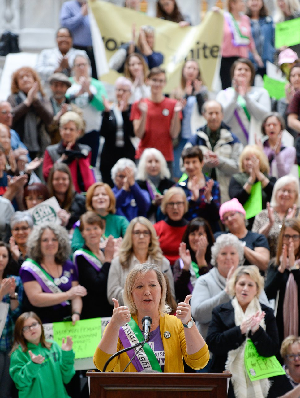 (Francisco Kjolseth | The Salt Lake Tribune) Amy Rich, co-founder of Fair Utah, joins local supporters of the Equal Rights Amendment as they rally at the Utah Capitol on Tuesday, Dec. 3, 2019, to encourage Utah to ratify the ERA.