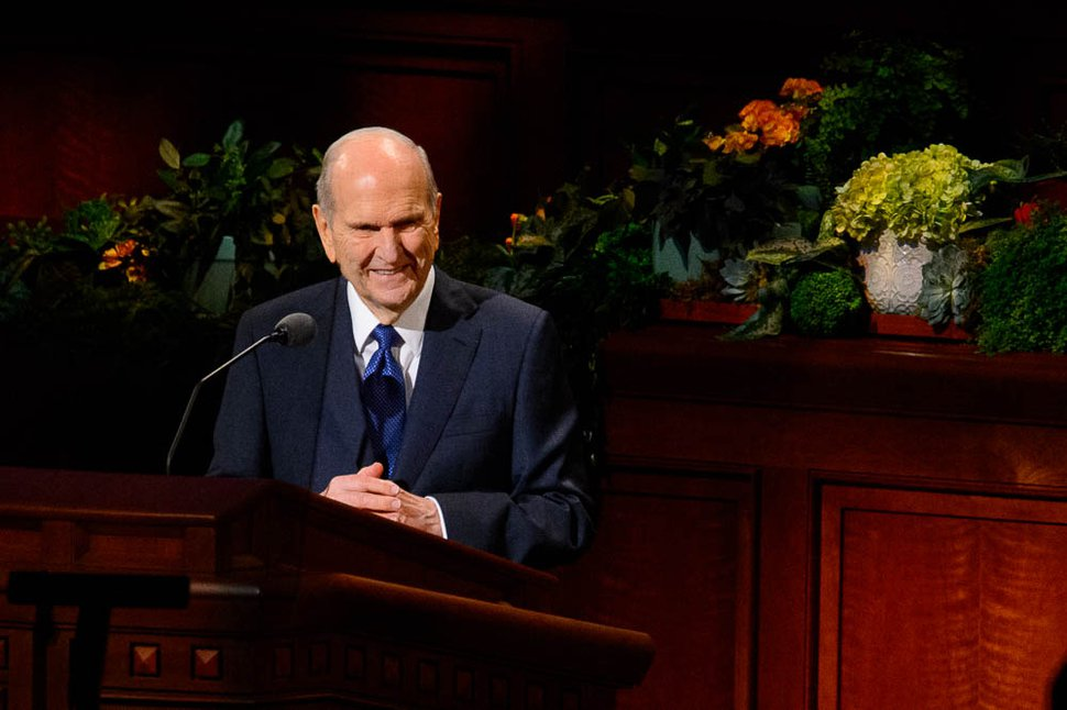 (Trent Nelson | The Salt Lake Tribune) President Russell M. Nelson speaks during the morning session of the189th Annual General Conference of The Church of Jesus Christ of Latter-day Saints in Salt Lake City on Sunday, April 7, 2019.
