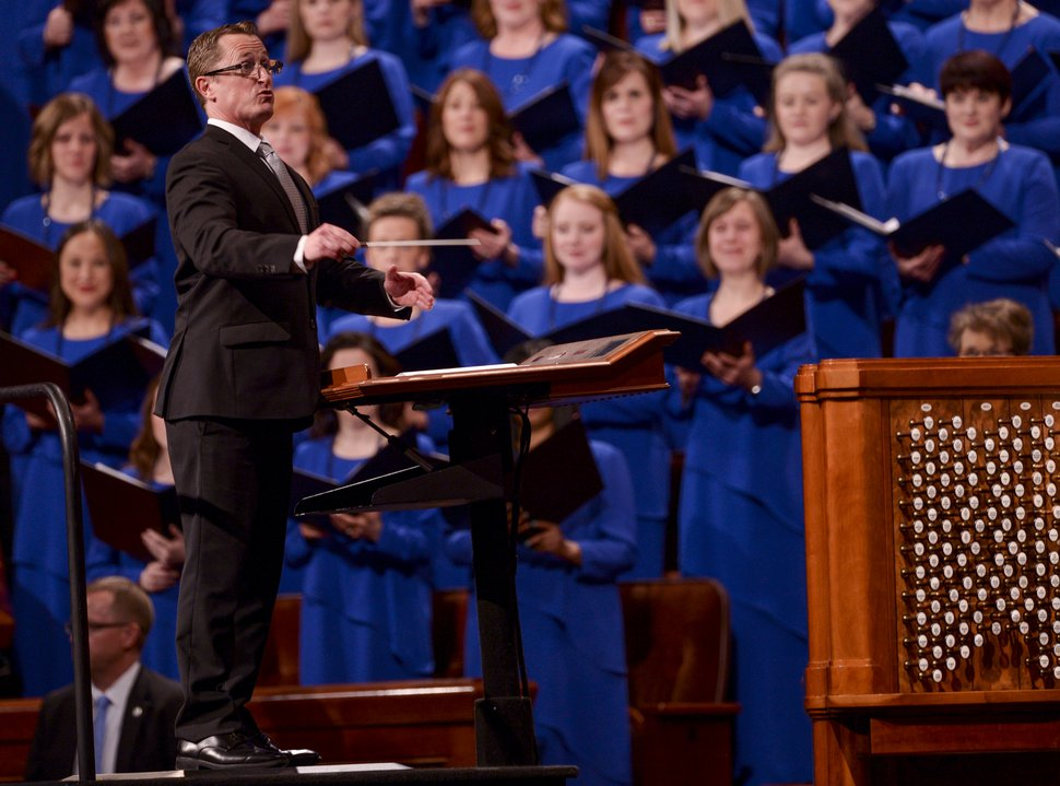 Leah Hogsten | The Salt Lake Tribune Conductor Ryan Murphy directs The Tabernacle Choir at Temple Square during 189th Annual General Conference of The Church of Jesus Christ of Latter-day Saints, April 6, 2019, in Salt Lake City.
