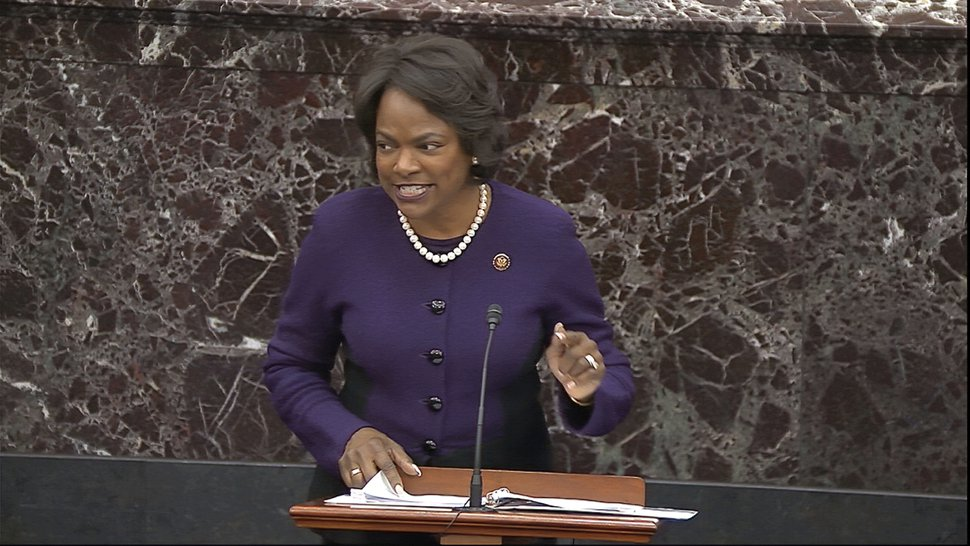 (Senate Television via AP) In this image from video, House impeachment manager Rep. Val Demings, D-Fla., speaks during closing arguments in the impeachment trial against President Donald Trump in the Senate at the U.S. Capitol in Washington, Monday, Feb. 3, 2020.