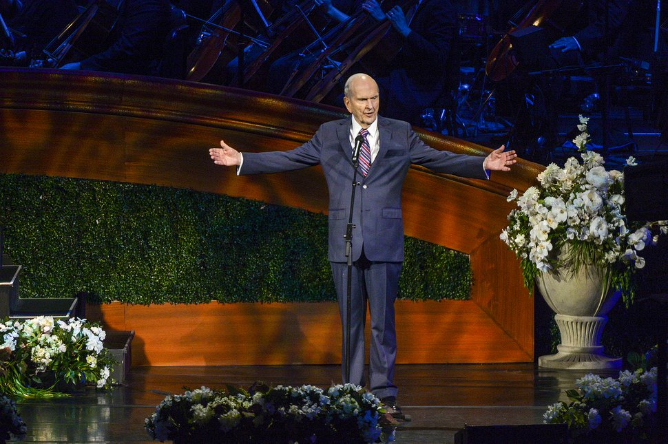 (Leah Hogsten | The Salt Lake Tribune) The Church of Jesus Christ of Latter-Day Saints President Russell M. Nelson addresses the congregation at the close of the gala celebrating his 95th birthday, Friday, Sept. 6, 2019, at the Conference Center in Salt Lake City.