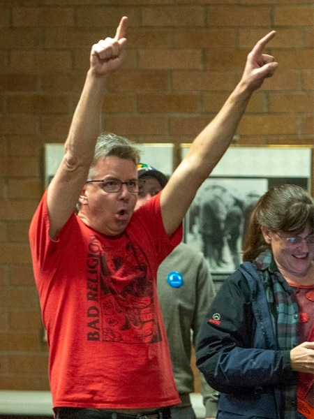 (Rick Egan | The Salt Lake Tribune) Mitchell Vice celebrates with Bernie Sanders supporters at an election watch party at the Teamsters & Chauffeurs Union in West Valley, on Super Tuesday March 3, 2020