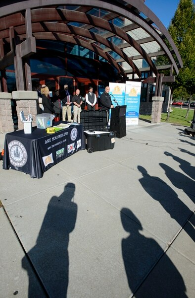 (Steve Griffin   The Salt Lake Tribune) Battalion Chief Clint Mecham, Emergency Manager for Salt Lake County, joined Salt Lake City Mayor Jackie Biskupski and Salt Ben Lake County Mayor McAdams to highlight a new program now active at every elementary school in Salt Lake County. The schools will become receiving centers where residents may gather, reunite with family members, and organize for disaster response. As an example, if a major earthquake should hit the county, families could grab their 96-hour emergency kit, go to their elementary school, and be ready for survival and recovery from the disaster. The news conference was held at Backman Elementary School in Salt Lake City Monday September 25, 2017.