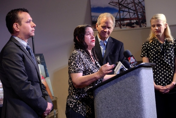 Al Hartmann | The Salt Lake Tribune Libertad Salgado, mother of Elizabeth Laguna-Salgado gives an impassioned plea for any information on her daughter's disappearance one year ago at a press conference at Rio Tinto Stadium in Sandy on April 18, 2016. Rosemberg Salgado, (her Uncle), left, and Ed and Elizabeth Smart pleaded to keep the case in the news and for anyone with information to contact the family or Provo Police.