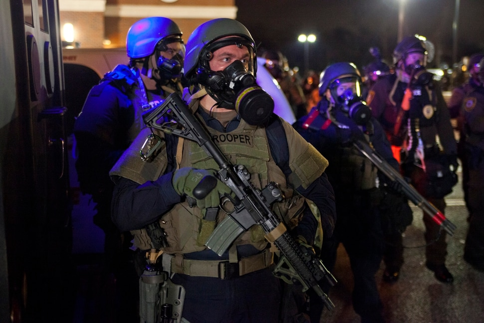(Autumn Lin | Magnolia Pictures) Riot police mobilize in Ferguson, Mo., in a moment captured in the documentary Whose Streets?
