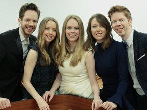 (Casey Welch  |  Photo courtesy of The 5 Browns) The Utah-raised piano quintet The 5 Browns — from left, Gregory, Desirae, Deondra, Melody and Ryan — will perform a livestreamed benefit concert from Utah Valley University's Noorda Center on Tuesday, Dec. 1, 2020.